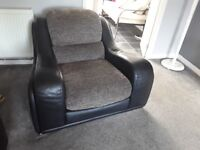 2,2 seater sofas and chair very good condition faux leather with fabric cushions