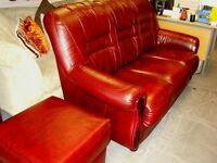 Italian Leather Liegi 3 Seater Sofa & Footstool by Fabrizio Mantellassi in Burgundy Red