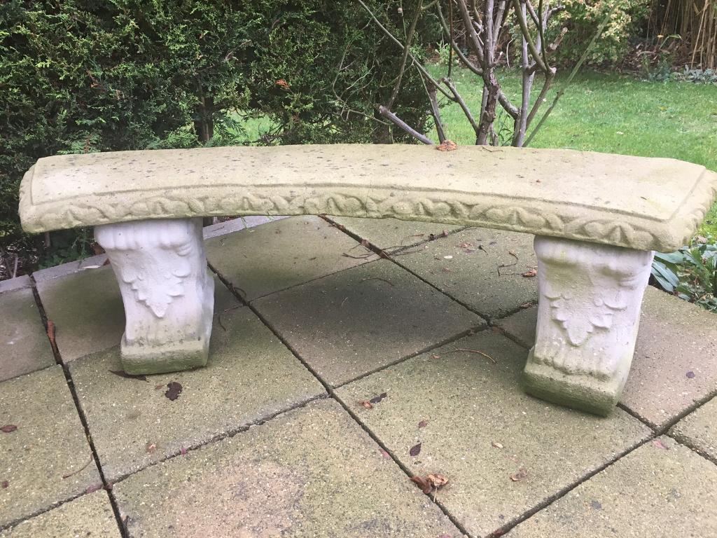 Large concrete garden bench