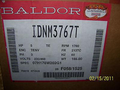 New Baldor Invertor Motor 5hp Pn Idnm3767t
