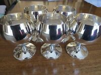 5 Silver plated wine goblets