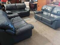 3 dark blue leather sofa set - Delivery Available