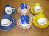 Espresso Cups and Saucers - set of six in perfect condition