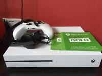 Xbox one S 1tb boxed with controller, cables, headset and 30 day gold trial