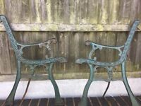 Cast Iron Garden Bench Ends / 7 Matching Sets