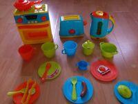 Chad Valley Kitchen play food set + ustensils