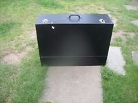 LARGE WOODEN TOOL BOX WITH DRAWERS AND HANDLE