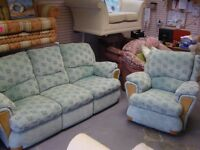 3 Seater Recliner Sofa Settee with Reclining Swivel Rocking Chair in Light Green. Spotless