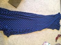 Striped blue long dress