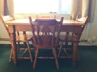 Table and chairs solid pine farmhouse