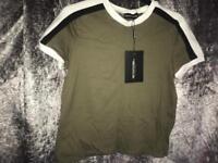 Khaki triple stripe shoulder t shirt
