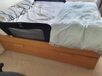 IKEA Brimnes double bed frame, 4 drawers in oak effect