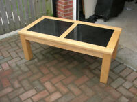 Coffee Table Oak with glass inserts