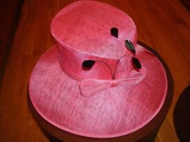 Gorgeous cerise pink bow & black formal occasion MONSOON hat, wedding, Ascot, mother of the bride.