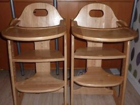 Two identical height adjustable high chairs with removable tray