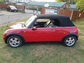 07949520184 1.6 Mini one convertible red with full black leather, service history and MOT history,