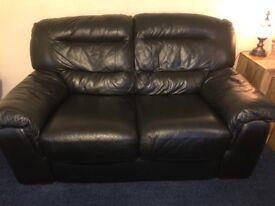 **reduced** Black 2 piece Leather sofa