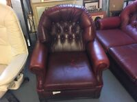 BUTTON BACK CHESTERFIELD STYLE OX BLOOD RED LEATHER CHAIR