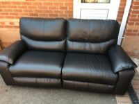 Black leather recliner 3 seater sofa