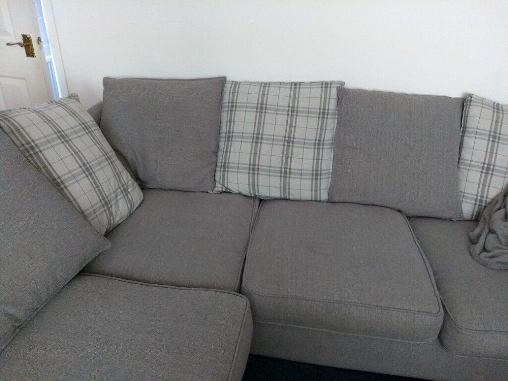 Reduced Dfs Grey Owen Pillow Back Right Hand Facing Arm Corner Sofa