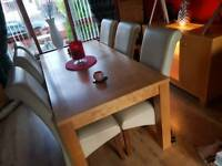 DINING TABLE WITH 6 CREAM HIGH BACK CHAIRS
