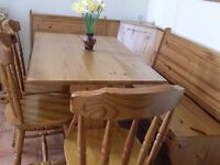 Pine Corner Bench Dining Set with Table and 3 Chairs