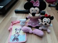 """Large Minnie mouse 16"""" soft toy, Baby minnie mouse & Bag"""