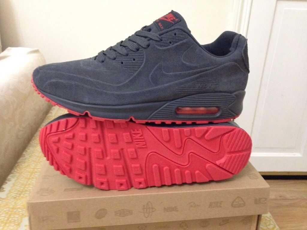 6fb002da4b ... denmark nike air max 90 hyperfuse suede grey red vt all sizes inc  delivery paypal 0dbb5