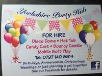 Hot tub, disco dome, bouncy castle, candy cart and mobile soft play hire Leeds