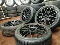 """Black 17"""" 5x100 alloy wheels + four good tyres vw audi seat skoda toyota"""