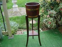 Antique oak coopered barrel plant stand/jardiniere by R A Lister