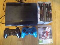 PS3 Super Slim 500GB + Fifa 16 + 7 Other Games and 2 Controllers