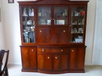 MAHOGANY STYLE SIDEBOARD WITH DISPLAY/COCKTAIL CABINET ABOVE.