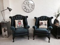 Beautiful vintage King and queen wingback Queen Anne Chesterfield armchairs. Can deliver