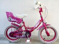 "(2530) 14"" 9"" RALEIGH MOLLY Girls Kids Childs BIKE BICYCLE+STABILISERS Age: 4-5 Height: 98-112 cm"