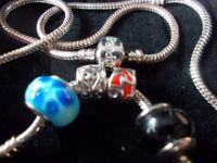 (Pandora) Silver Necklace & (4) Charms