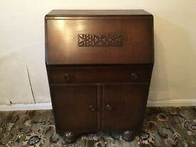 Vintage Jentique Bureau Writing Desk Dark Oak Fall Front - Excellent Condition