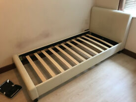 3ft Single Faux Leather Bed Frame In White