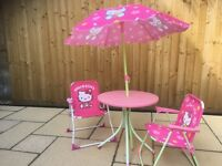 Hello Kitty child table chairs parasol