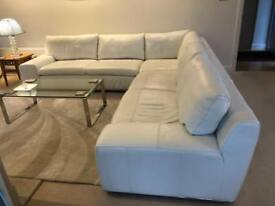 White Leather Corner Sofa in Excellent Condition with Separate White Leather Arm Chair