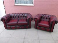 A Saxon Oxblood Red Leather Chesterfield Two Piece Suite