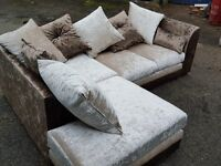 Really nice brown and beige crushed velvet corner sofa. 1 month old. clean and tidy. can deliver