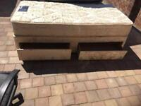 Myer's single divan bed with 2 drawers and mattress