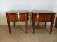 Pair of Antique Night Stand / Bedside Table / Cabinets - With A Leather Top