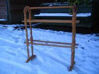 Wooden free floor standing bathroom rack. Vintage towel rail, hanger.