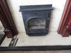 log/coal inset fire plus surround and hearth in marble