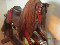HAND MADE MAHOGANY AND TEAK ROCKING HORSE MADE1999