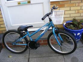 "GIRLS 20"" WHEEL BIKE WITH FITTED BASKET IN GREAT WORKING ORDER AGE 6+"