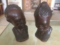 African Carved Wooden Heads