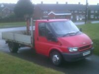 FORD TRANSIT ALUMINIUM DROPSIDE TRUCK WITH CRANE.85000 MILES ONLY.LONG MOT DRIVES SUPERB